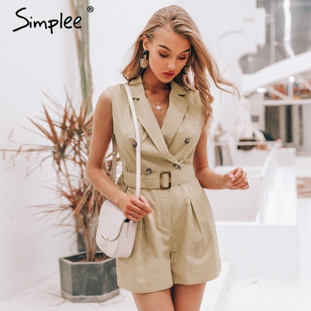 #friends #cool Simplee Elegante schärpen khaki baumwolle frauen overall Sommer taschen taste zipper strampler kurze overall Büro damen overalls