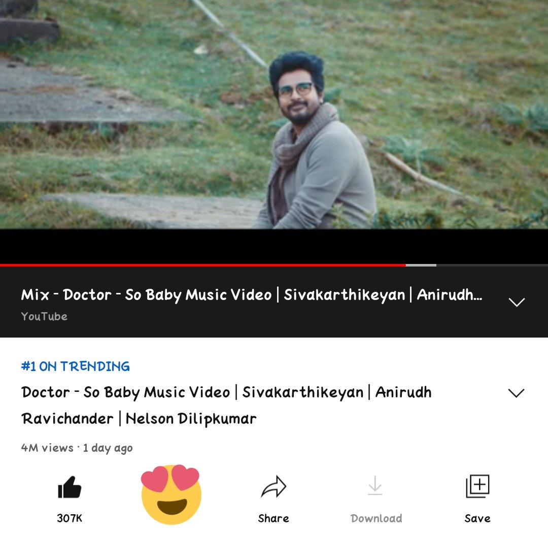 #SOBABY Video Hits 307K Likes And 4M Updated Views and @YouTube Trending Number 1️⃣ 😎  @Siva_Kartikeyan #Doctor @anirudhofficial @Nelsondilpkumar  @priyankaamohan #Ayalaan ..💥  Link 👉  !!
