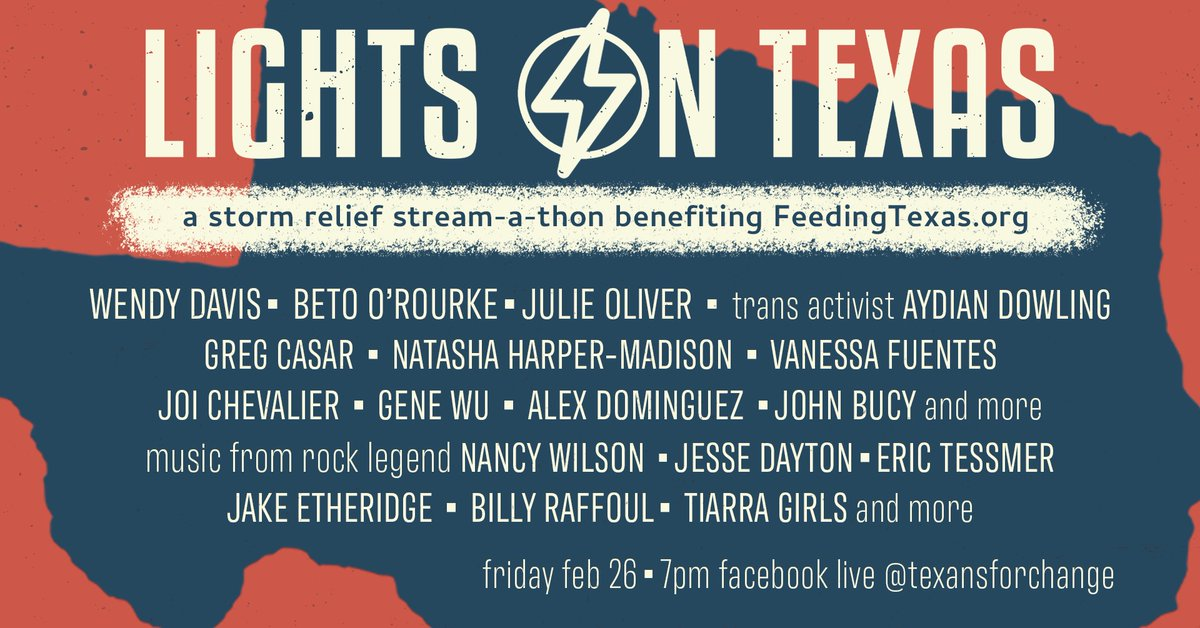 .@wendydavis, @BetoORourke & more are teaming up for Lights on Texas, a storm relief stream-a-thon. The event features musicians & leaders to help raise money for @FeedingTexas's network of food banks, including ours. Tune in tonight from 7-10pm. Details: .
