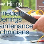 Image for the Tweet beginning: IMMEDIATE OPENINGS FOR MAINTENANCE TECHS.