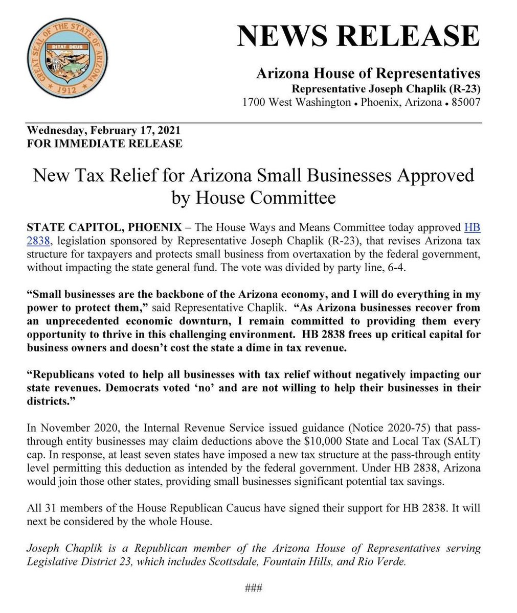 House Bill 2838 is going to the floor this upcoming week to give tax relief to Arizona businesses.   All Democrats voted against it in committee.  Republican are fighting for more tax relief to keep Arizona a pro-business state. #AZLeg #HB2838