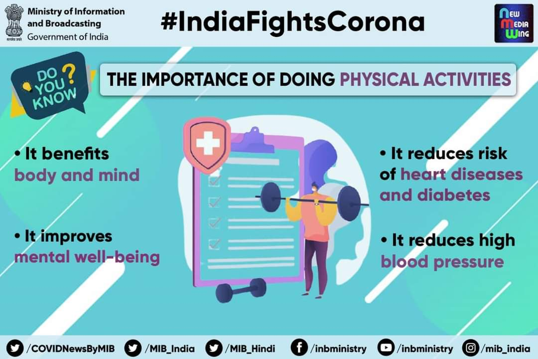 #IndiaFightsCorona:  Q. Do you know the importance of doing physical activities?  🔹 Benefits body and mind 🔹Improves mental well-being 🔹Reduces risk of heart diseases & diabetes 🔹Reduces high blood pressure  #Unite2FightCorona #StaySafe