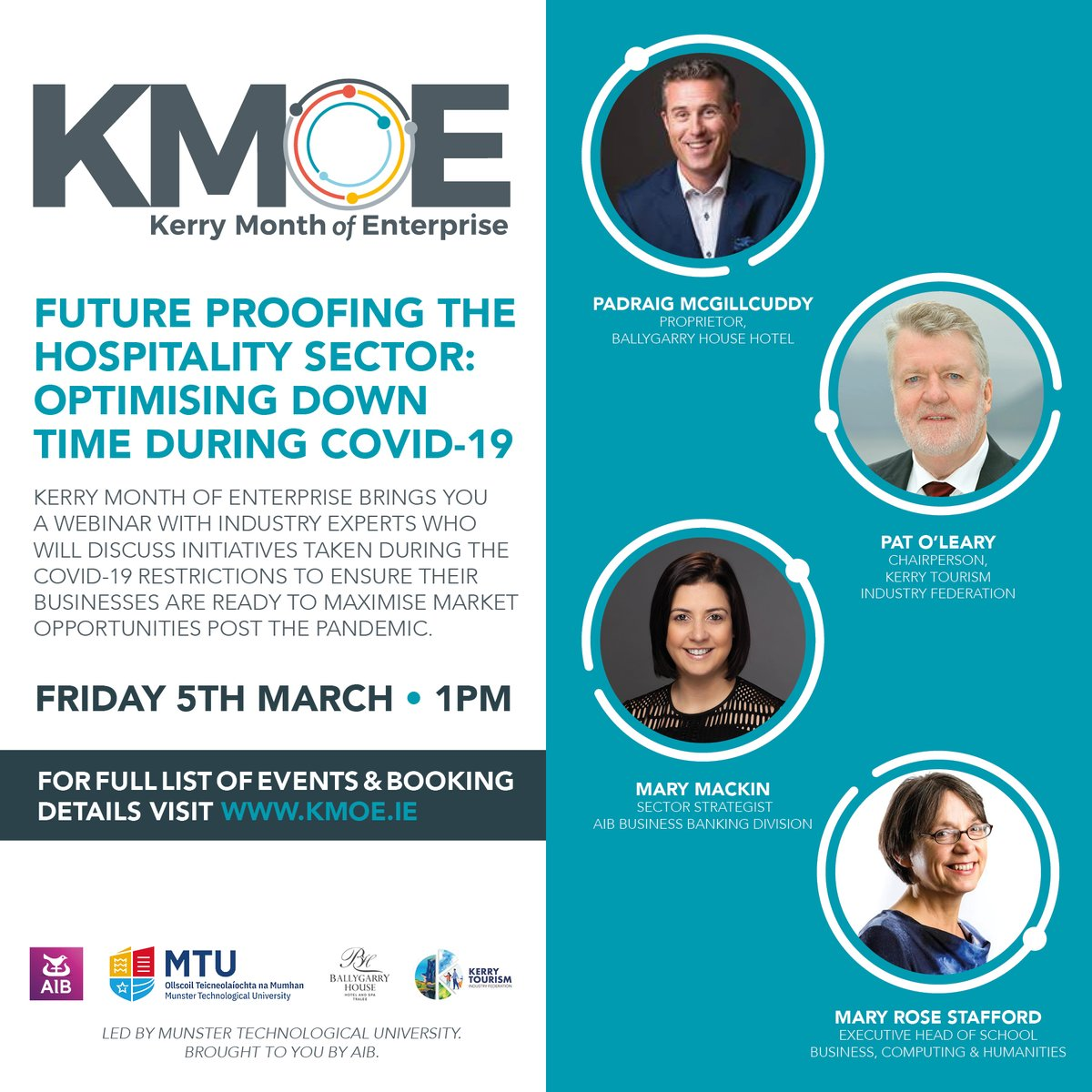 We will be hosting a webinar as part of Kerry Month of Enterprise on Friday 5th March at 1pm with AIB on Future Proofing the Hospitality Sector: Optimising down time during Covid-19. Register here https://t.co/xhuyogqRj4.  Full details at https://t.co/TcEwK1xPB4 https://t.co/TfxTohvnLI