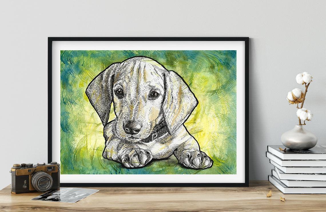 Dachshund puppy, original watercolour and ink artwork - unframed   Cute Puppy   Dogs   Original Art   Wall Art   Wall Decor   Line Art  #art #PopArt #Etsy #giftIdea #Artwork #LineArt #DogPainting