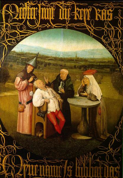 The Stone Operation / The Extraction of the Stone Madness / The Cure of Folly   -1516, Hieronymus Bosch   #art #aesthetic #paintings #hieronymusbosch