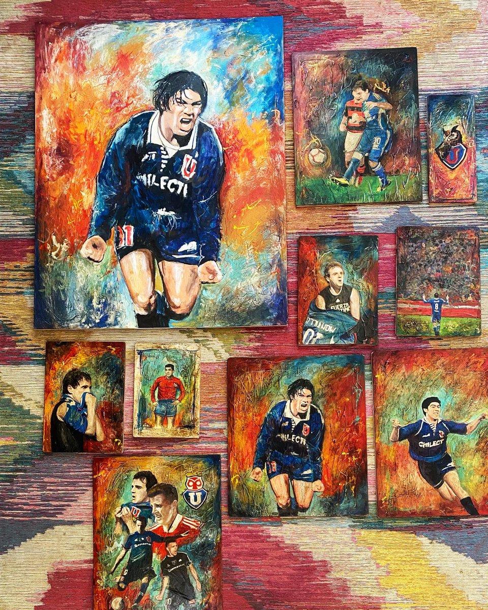 Últimos trabajos agendados , consulte por el suyo , quedan pocos cupos , entrega 20 de marzo. . #udechile  #universidadechile #futbolchileno #pincel_azul #chile #mixmediaart #acrylicpainting #sportdesign #sportpainting #futbol #legend #football #chuncho #universidaddechile