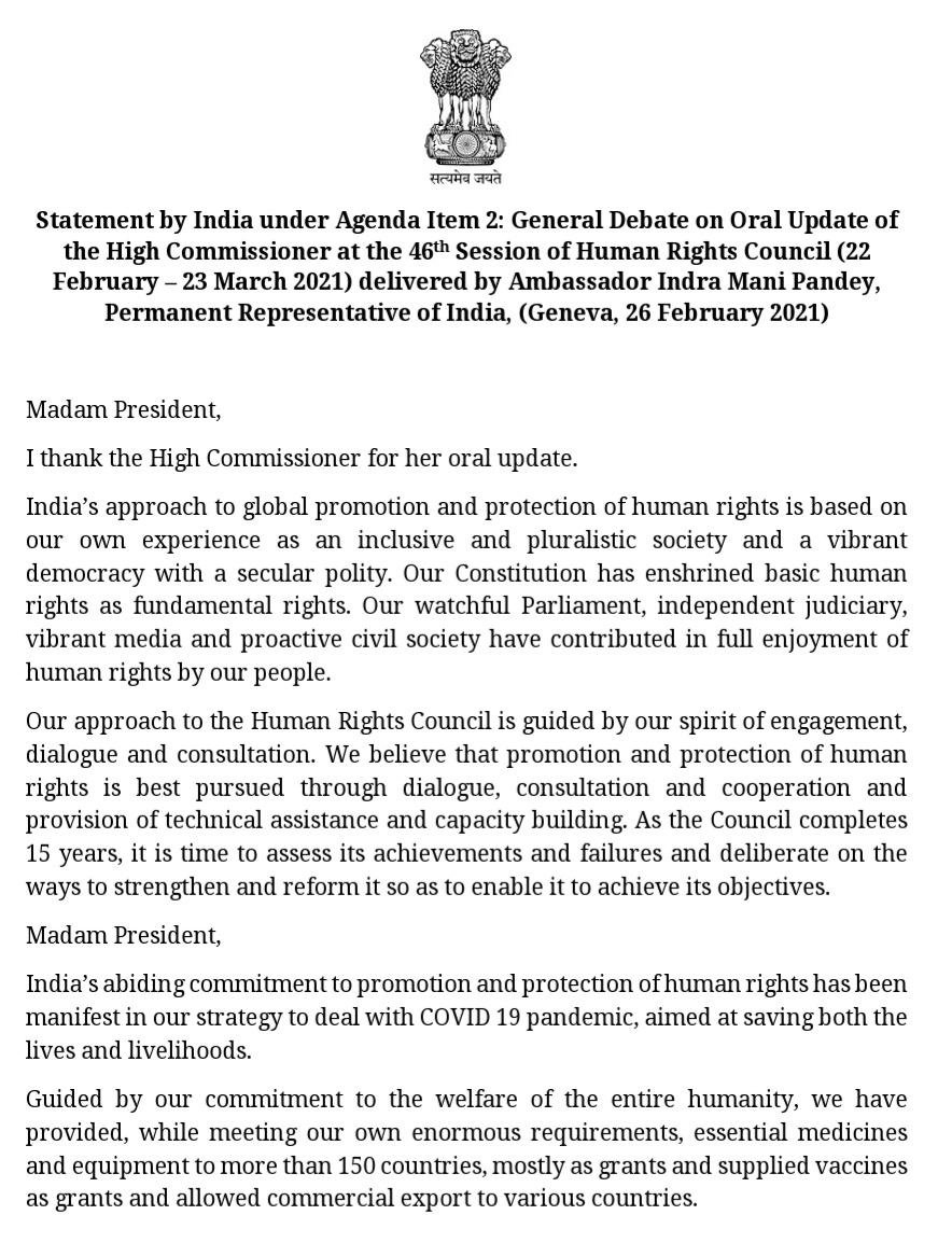 "India's national statement at #UNHRC slams @mbachelet. @IndiaUNGeneva @IndraManiPR says,""The unprovoked violence on our #RepublicDay in the name of farmers' rights, apparently, left her unmoved. Her indifference to terrorism is, of course, not new."""