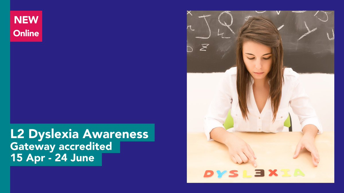 This online course is an introduction to dyslexia awareness. Learn about key characteristics of dyslexia and practical strategies for supporting young people.   Delivery is on a Thursday from 4pm - 6.30pm.   #WeAreCRC #YouMatter #LoveOurColleges https://t.co/gpP3TOkwb9