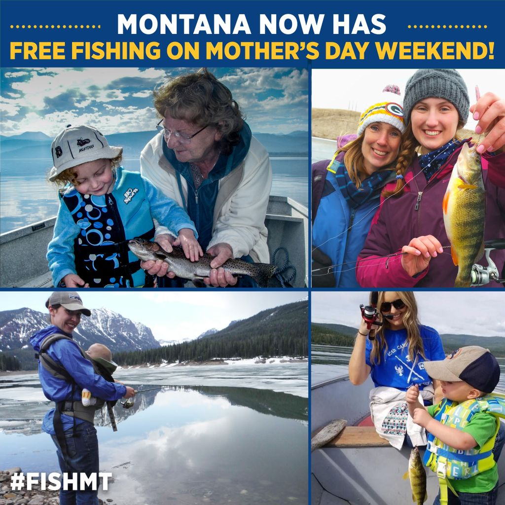 Montana now has free fishing on Mother's Day weekend! Governor Gianforte signed Senate Bill 61 into law Tuesday, allowing free fishing on Mother's Day weekend. So make plans to grab that special lady in your life May 8-9, 2021 and hit the water. #FishMT