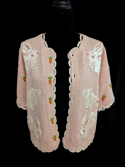 Vintage Pink Sequined Bunny Easter Sweater by Belle Point Size Small   #FridayMotivation #Easter #EasterBunny #sundayvibes #eastersunday #SpringTime #sequins #EasterBunny #whiterabbits #carrots
