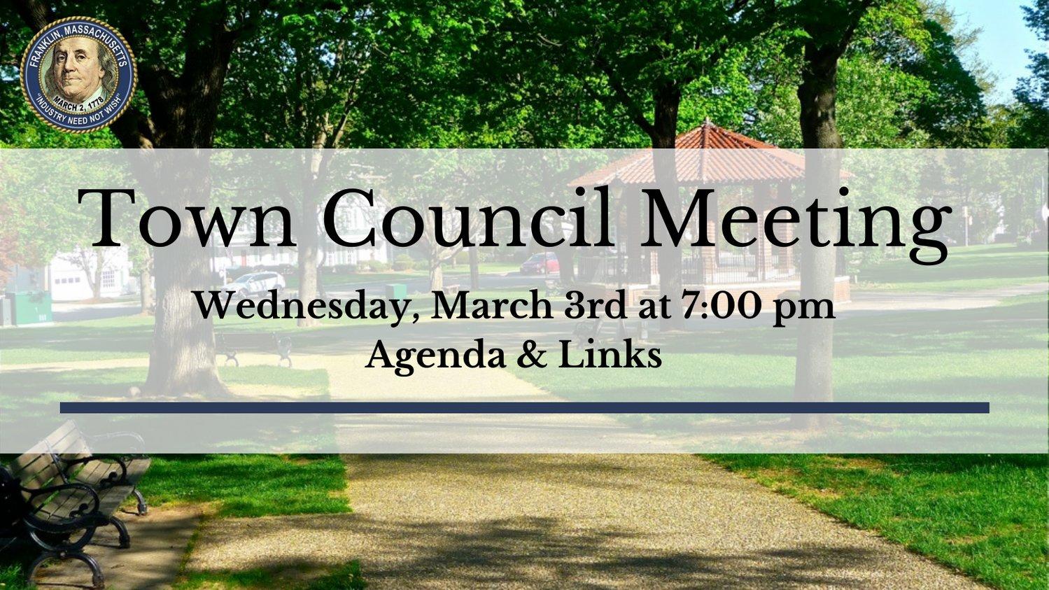 Franklin, MA: Town Council Meeting - Mar 3, 2021 - Agenda