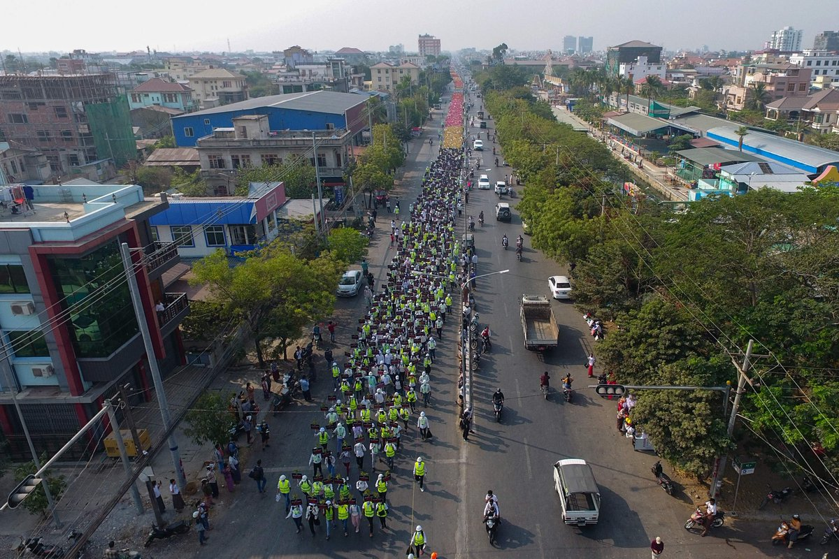 Replying to @NBCNews: Protesters march against the Myanmar military coup in Mandalay on Friday.   📷 AFP / Getty