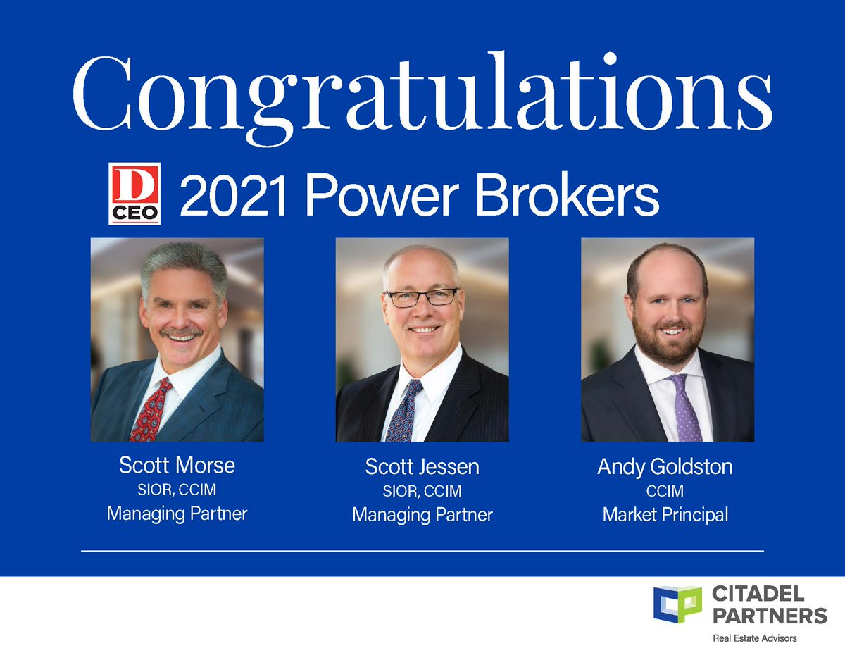 test Twitter Media - Thank you DCEO for the recognition! Congrats to Scott Morse, SIOR, CCIM, Scott Jessen, SIOR, CCIM, and Andy Goldston, CCIM for being named 2021 Power Brokers by DCEO Magazine! We are so proud of our brokers!  #DCEOPowerBrokers #DallasCommericalRealEstate #CitadelPartners https://t.co/RElMQIRr1e