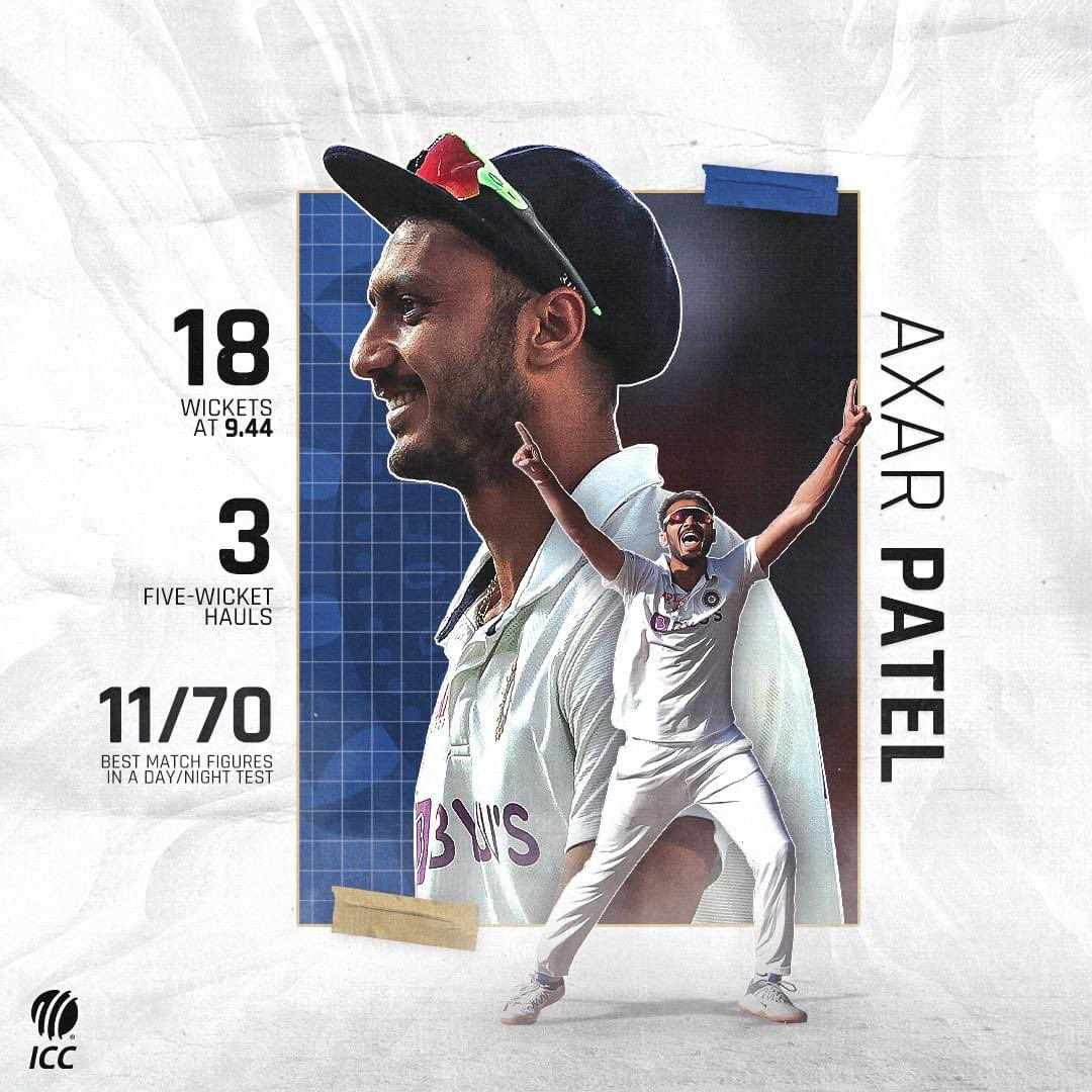 2/40 and 5/60 in his First Test 6/38 and 5/32 in his Second Test  Jaw dropping Performance from #AxarPatel   He really proved his worth for the Team.   #AxarPatel💪🏻 #TeamIndia🇮🇳