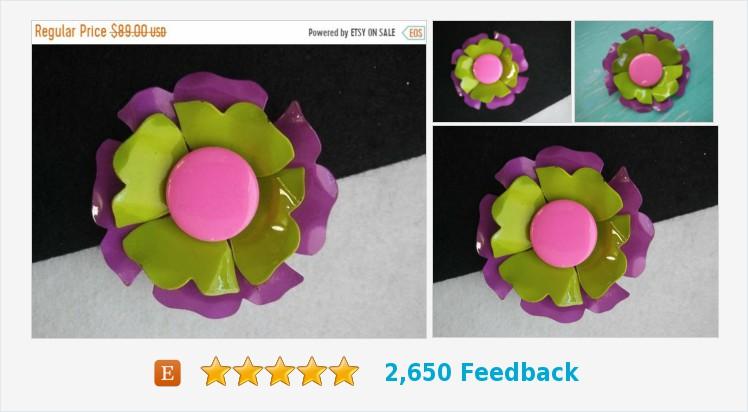 Very pretty pink green purple large metal 1960s 1970s flower | Etsy #pink #purple #flower #pin #fashion #jewelry   (Tweeted via )