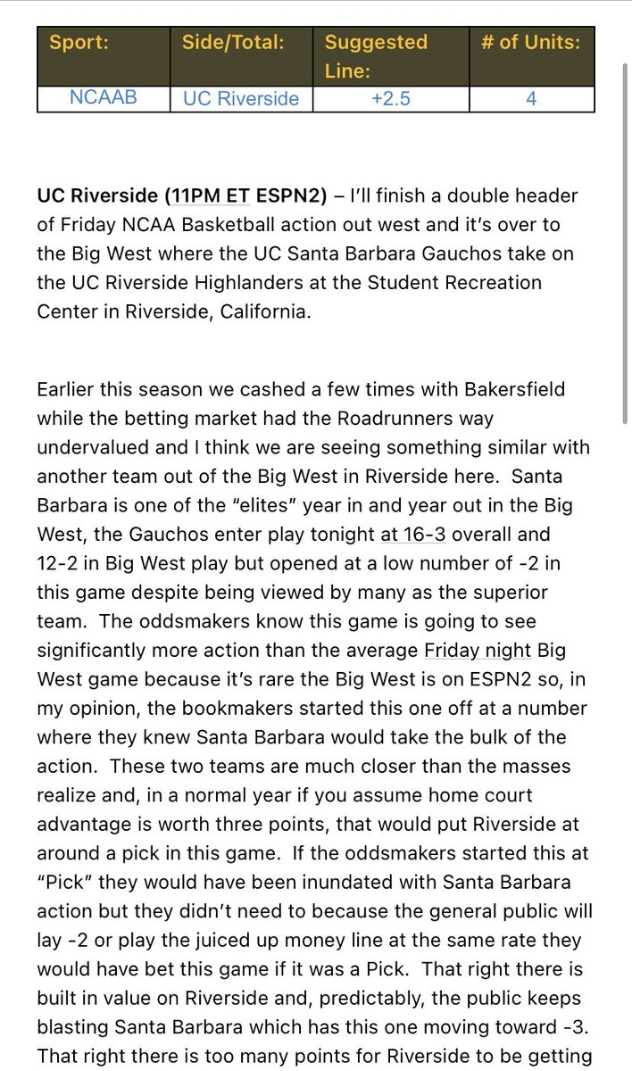🏀 #CollegeBasketball 🏀  UC Riverside +2.5 (4u)  Two #CBB plays for me tonight.  One you can find with full analysis below.  The other is a 5* #BestBet and the link for that is pinned to my Twitter feed.  Let's sweep again!  #GamblingTwitter #CBB #NCAAB #CBBPicks #sportsbetting