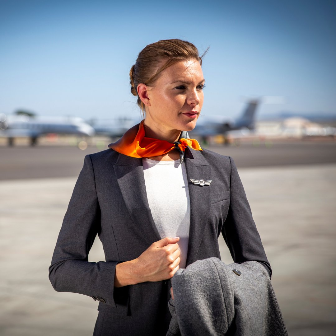 With travel around the globe, 365 days a year, our fabulous team of Cabin Attendants have the luxury of a 3 piece uniform allowing for versatility, no matter the weather, wherever they may land. #privatejets #fashion #versalitly #style