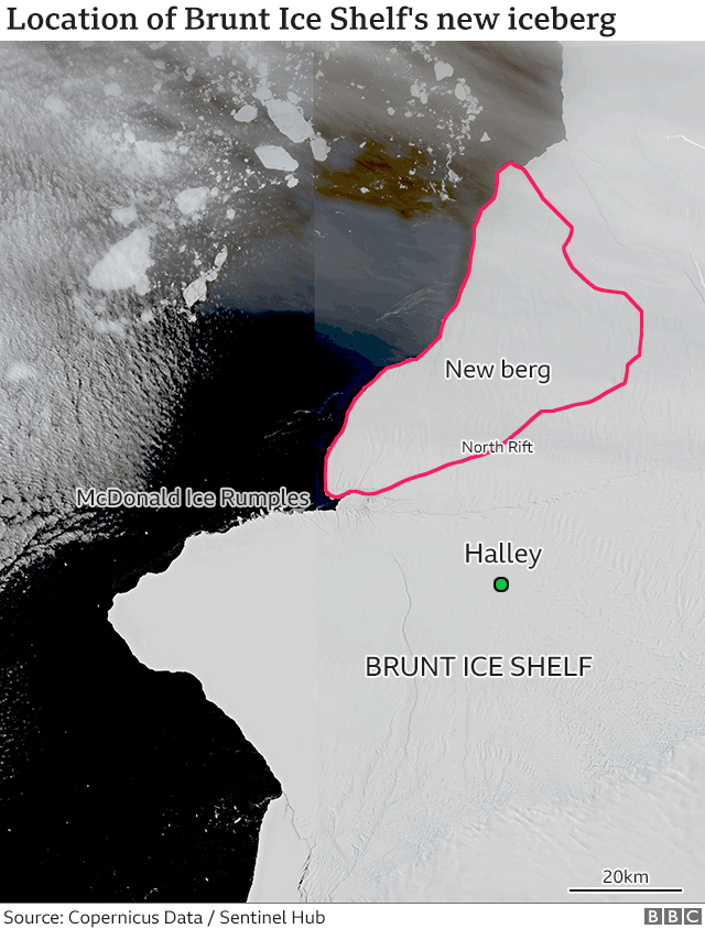 Yet another chunk out of Antarctica A large iceberg 20 times  size of Manhattan broke off Brunt Ice Shelf in Weddell Sea of Antarctica  today . The iceberg is about 490 square miles and about 492 feet thick, according to the British Antarctic Survey