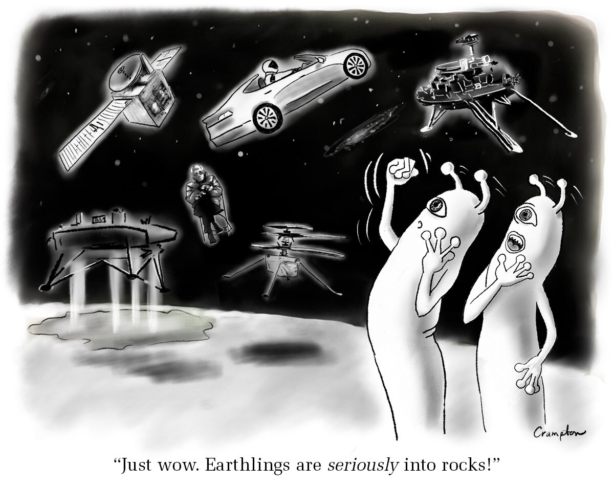 Here's a new cartoon for you... #martians #mars #ElonMusk #NASA #Berniememes #Rover #drone #spaceforce #StarTrek 🖖🏽