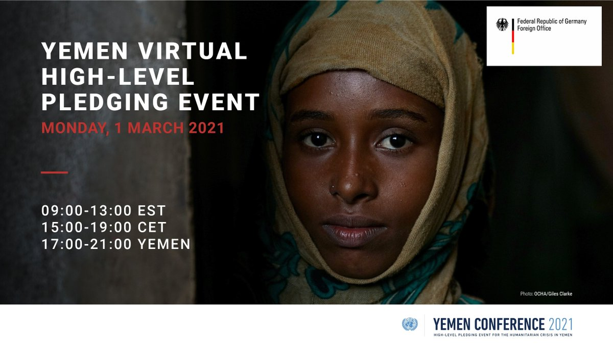You are right @UNOCHA: #YemenCantWait 🇩🇪 is ready for Monday's High-Level Pledging Conference to support the people of Yemen. #InvestinHumanity