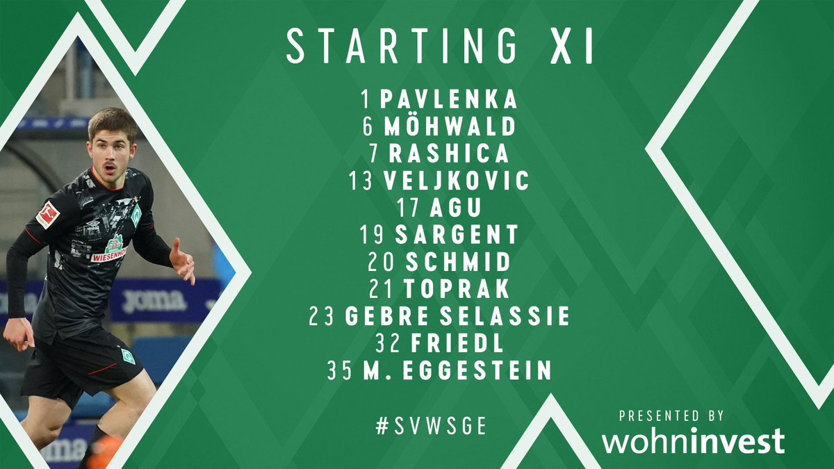 Here's how we line up for tonight's action! 📋  One change as Romano #Schmid returns 🙌  #werder #svwsge