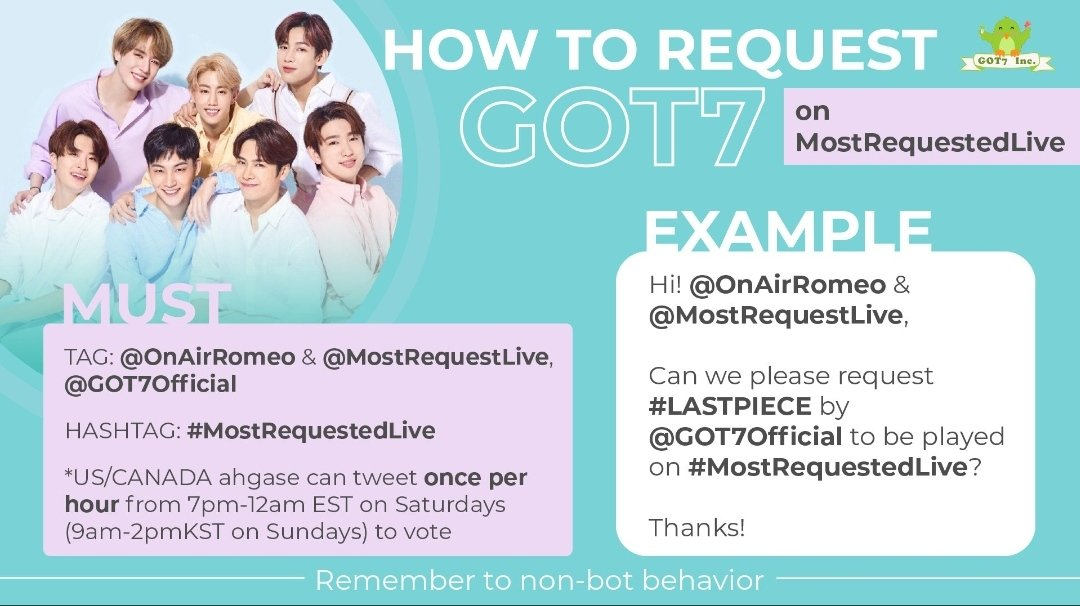 🇺🇲Ahgase🇨🇦  Hi @OnAirRomeo & @MostRequestLive, can we request ENCORE by @GOT7Official to be played on #MostRequestedLive !  Remember to Twt 👇 once/hr during the ⌚ mentioned in the banner!  Twt separately for One in a Million & Alone, if you have more than one account!😋  🦋