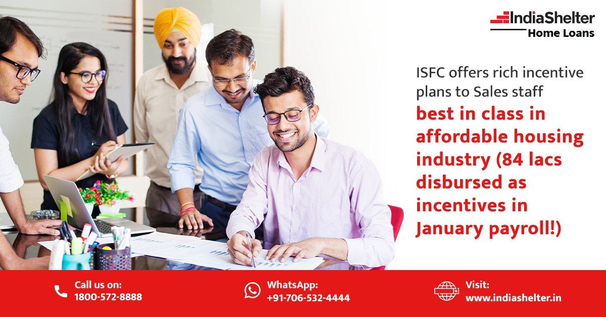 We know pandemic has been the most difficult phase of everyone's work life. ISFC still offers rich incentive plans to Sales staff. We at ISFC, stand for helping and nuturing talent.  #IndiaShelter #ISFC #HarGhar #HomeLoan #Finance #FinancialFreedom #Money #FinancialHelp
