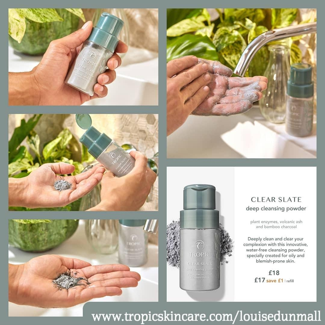 CLEAR SLATE deep cleansing powder  With volcanic ash and bamboo charcoal that mop up excess sebum, the dash of peppermint essential oil is the perfect finishing touch and makes your face feel like it's been dunked in glacier waters - truly invigorating.