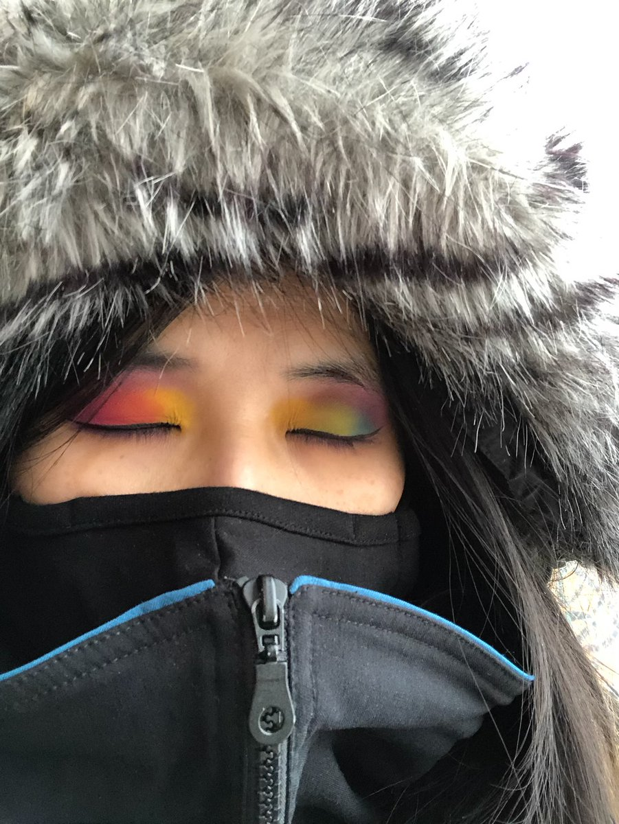 Polar Vortex Steph with Rainbow Eyes Action!  Makeup: @maccosmetics Art Library: It's Designer eyeshadow palette; Fluidline Eyeliner in Blacktrack.   #eyeshadow #eyeshadowpalette #maccosmetics #makeup #winter #yyc #calgary #alberta #rainbow #spectrum