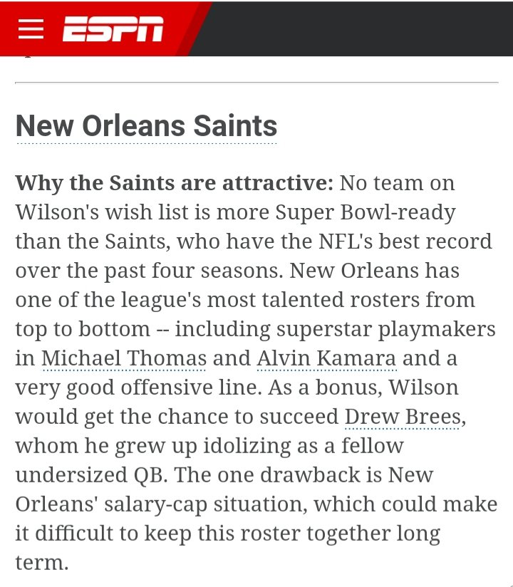 @DangeRussWilson @Saints @SeanPayton   The most #SuperBowl ready team on Wilson's wish list is @Saints, who have the #NFL best record over the past 4 seasons. #Saints have one of league's most talented rosters w/ #MichaelThomas, #AlvinKamara& VERY GOOD Offensive Line & Defense!