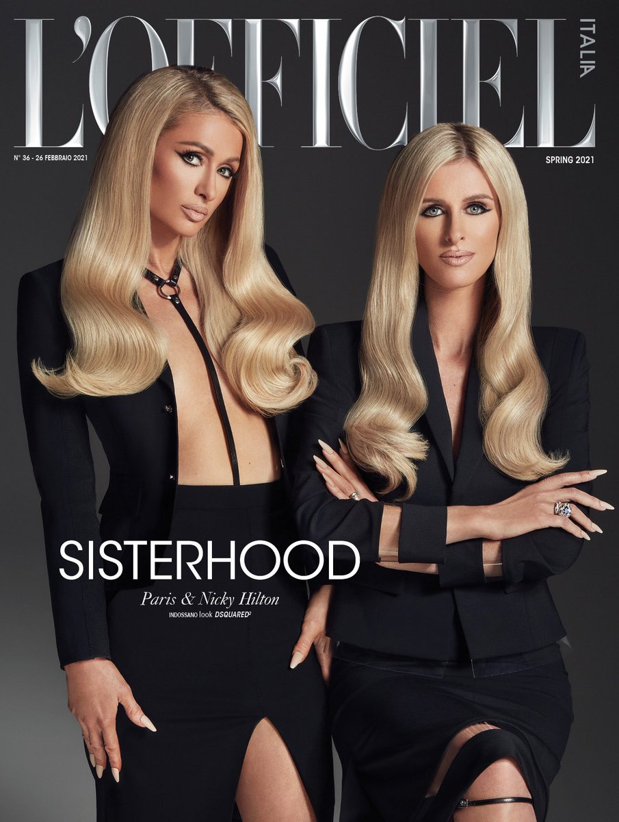 Twinning with my gorgeous sis @NickyHilton on the cover of @LOfficielItalia. ✨👸🏼👸🏼✨   Editor in chief #GiamPietroBaudo Photographed by @VijatM Fashion by #SammyKStyle  Hair @HairByIggy Make-up @AdamBurrell Nails @Nails_By_Yoko Producer #DanieleCarettoni @HubbleStudio