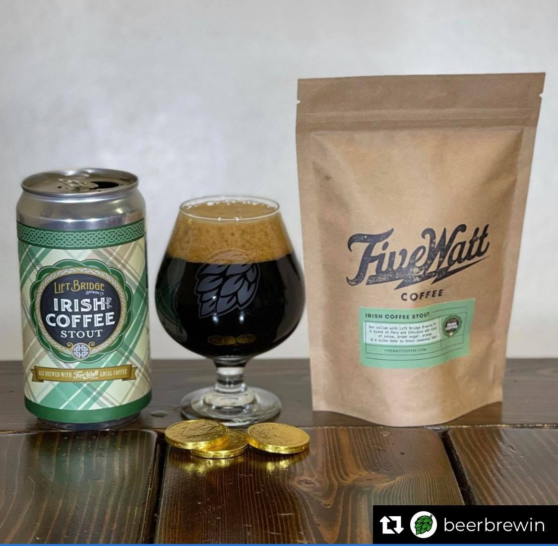 """""""Time for some @LiftBridge Irish Coffee Stout action! Inspired by its namesake, its roasty creamy milk stout base, blended with whiskey barrel-aged imperial stout and @fivewattcoffee Get some of this Irish luck in the Lift Bridge taproom.""""  📸 #repost @BeerBrewin"""