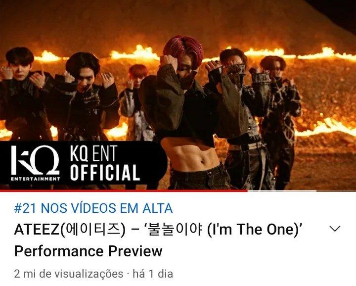 """📢     """"Fireworks (I'm The One) Performance Preview"""" alcançou a marca de 2M de visualizações no YouTube!! 🎉🎉  🔗:   @ATEEZofficial #ATEEZ #에이티즈 #FIREWORKSto2MILLION"""