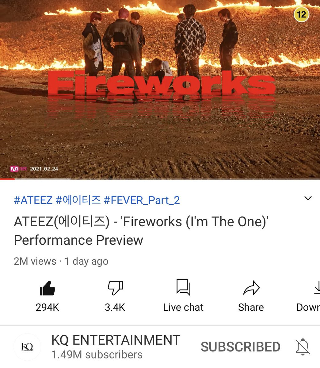 [📢]   ATEEZ(에이티즈) - 불놀이야 (I'm The One) Performance Preview has surpassed 2M views and 294K likes.   🔗:   #ATEEZ #에이티즈 @ATEEZofficial