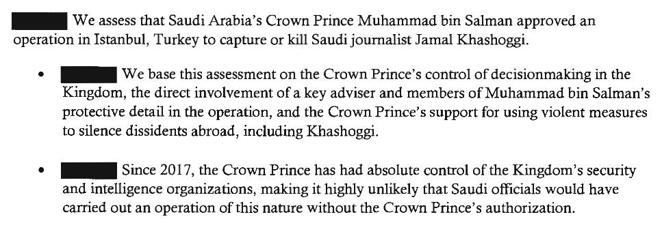 Saudi-Arabiens kronprins beordrede likvideringen af Washington Post-skribenten Jamal Khashoggi, siger USAs efterretningstjenester - uden omsvøb - i netop offentliggjort dokument.