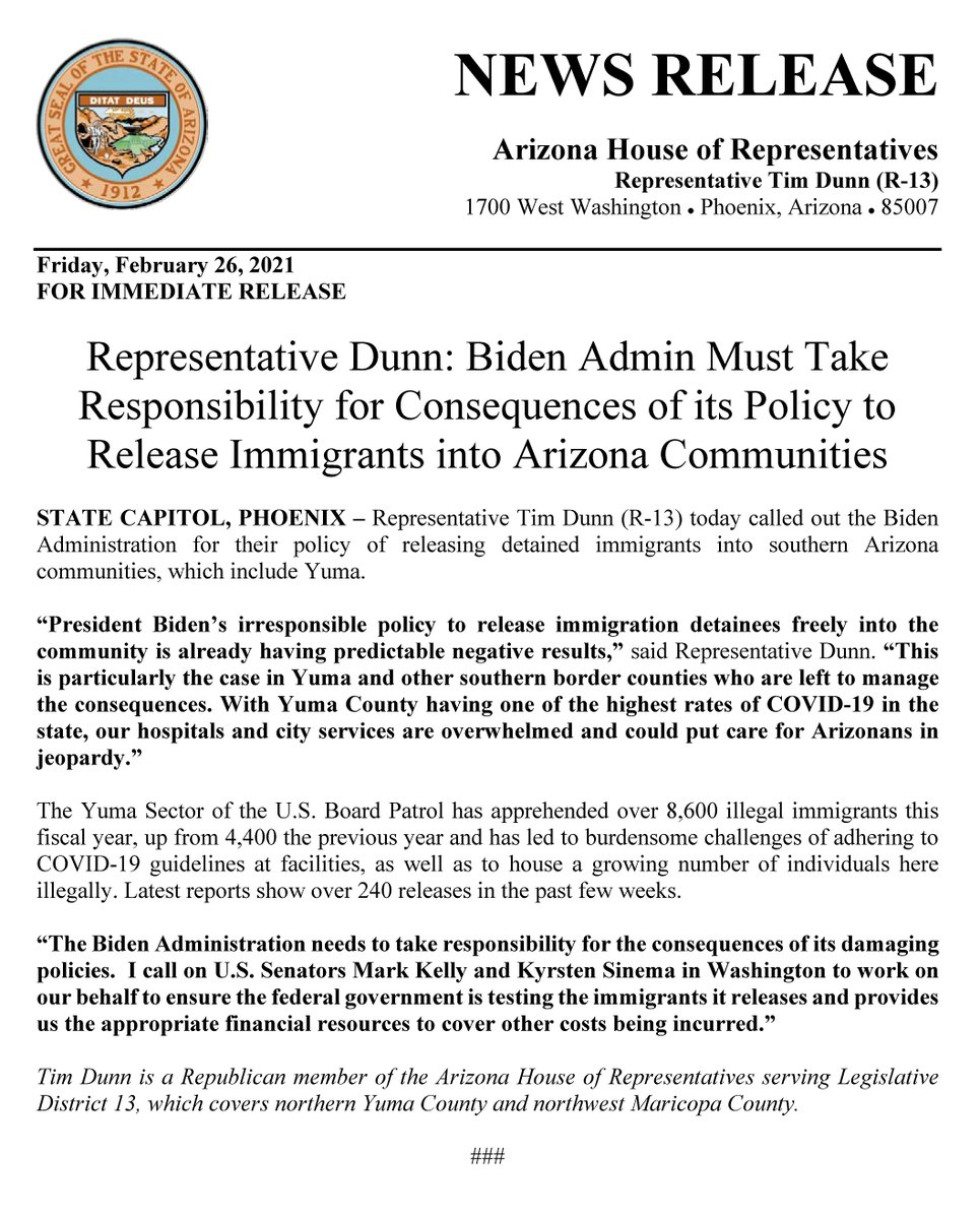 Representative @TimDunnAZ : Biden Admin Must Take Responsibility for Consequences of its Policy to Release Immigrants into Arizona Communities.  #azleg
