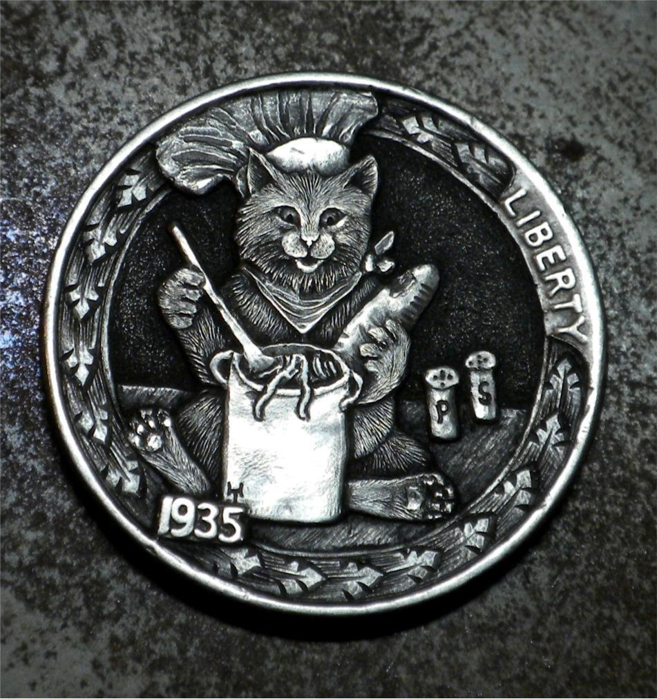 February 26 = #NationalPersonalChefDay #PersonalChefDay Chef doesn't mean you're the best cook, It simply means you're the boss #HoboNickel #CoinCarvings by #HowardThomas @PurrgatoryCats  #Cats #CatLovers