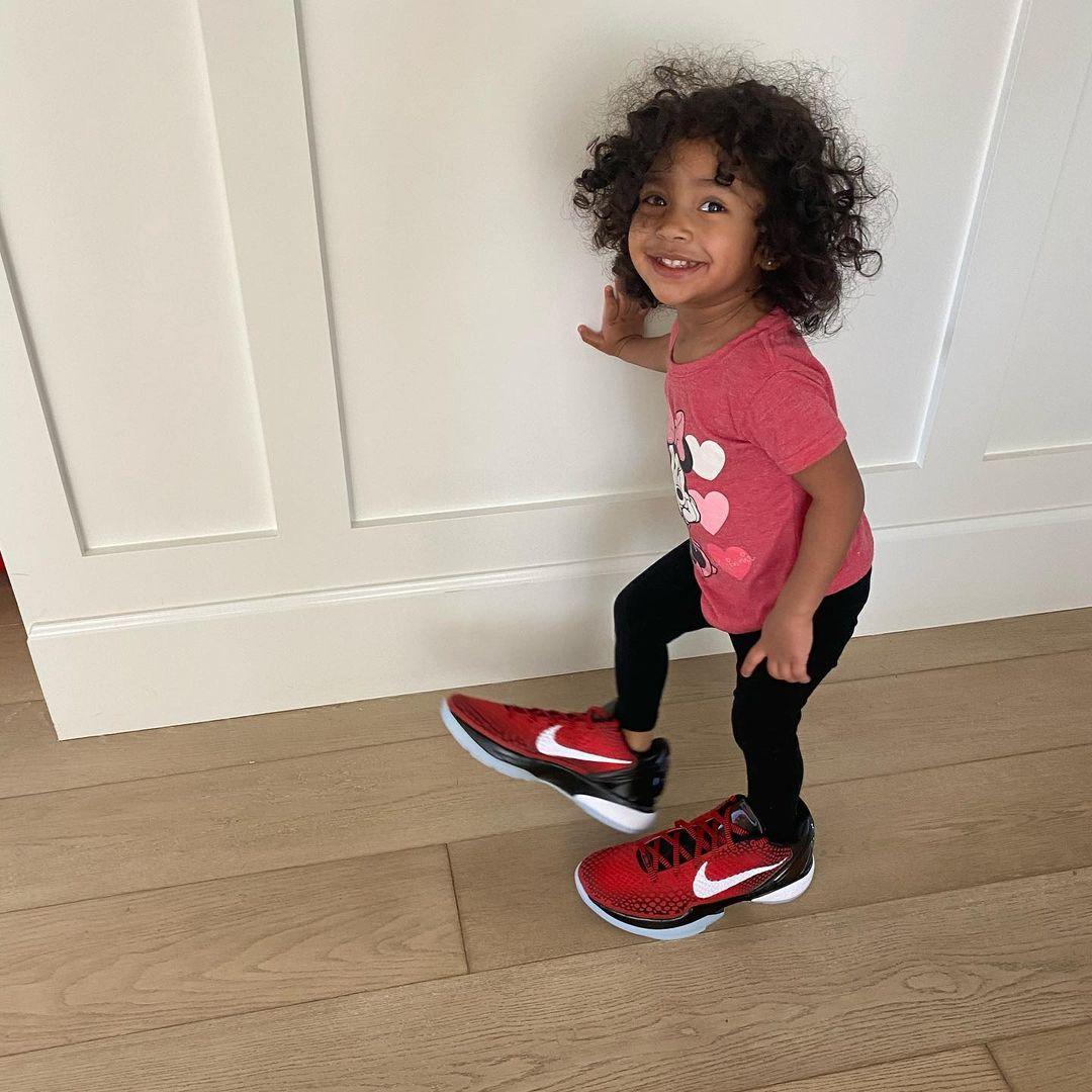 "How sweet is this? Kobe's daughter Capri wearing Vanessa's ""All-Star"" shoes 😢 💜 💛  [📸: @vanessabryant] #MambaForever"
