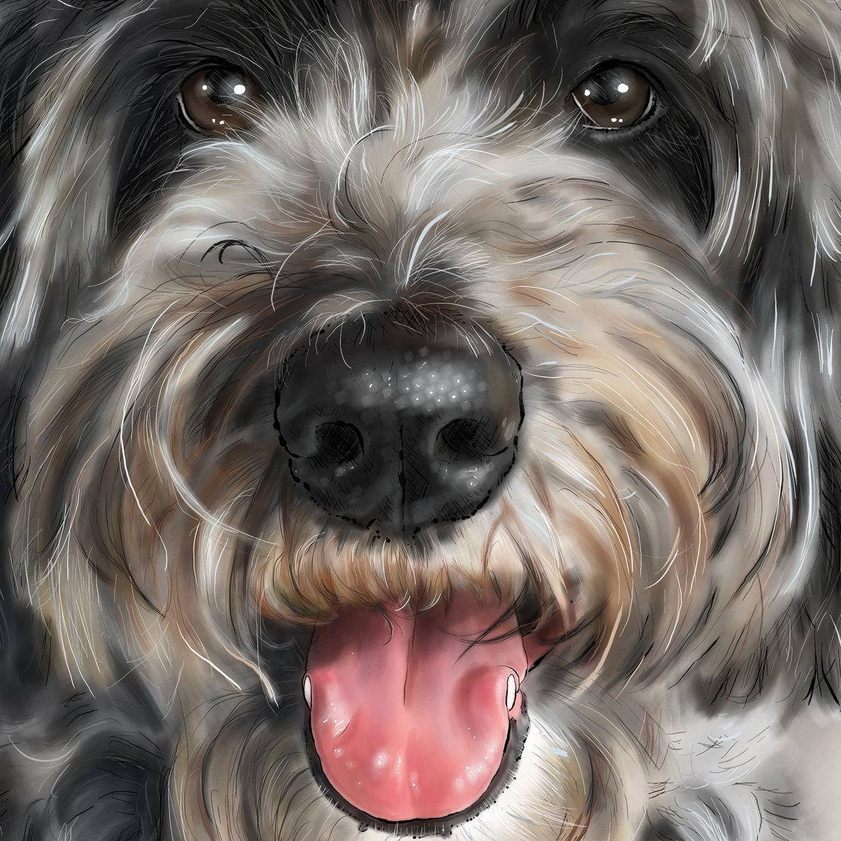 Digital or watercolour, each has its appeal 🎨💎 I've been doing a few more watercolours lately, but these portraits are digital. I love both! #dogsoftwitter #faces #boop