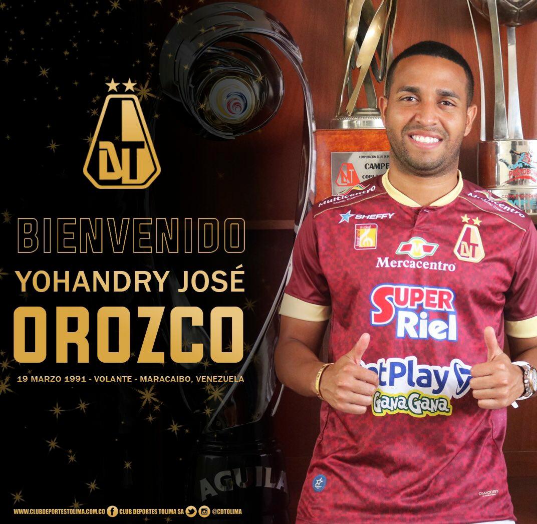 ¡CALIDOSO, AL REGRESO! 🔥  Yohandry Orozco es nuevo jugador de Deportes Tolima. 📝  El venezolano regresa al club, tras su paso en 2018, dónde se destacó y fue campeón de liga. 🏆  Buen refuerzo para el 'pijao'. Un creativo con visión y gran pegada. ⚽