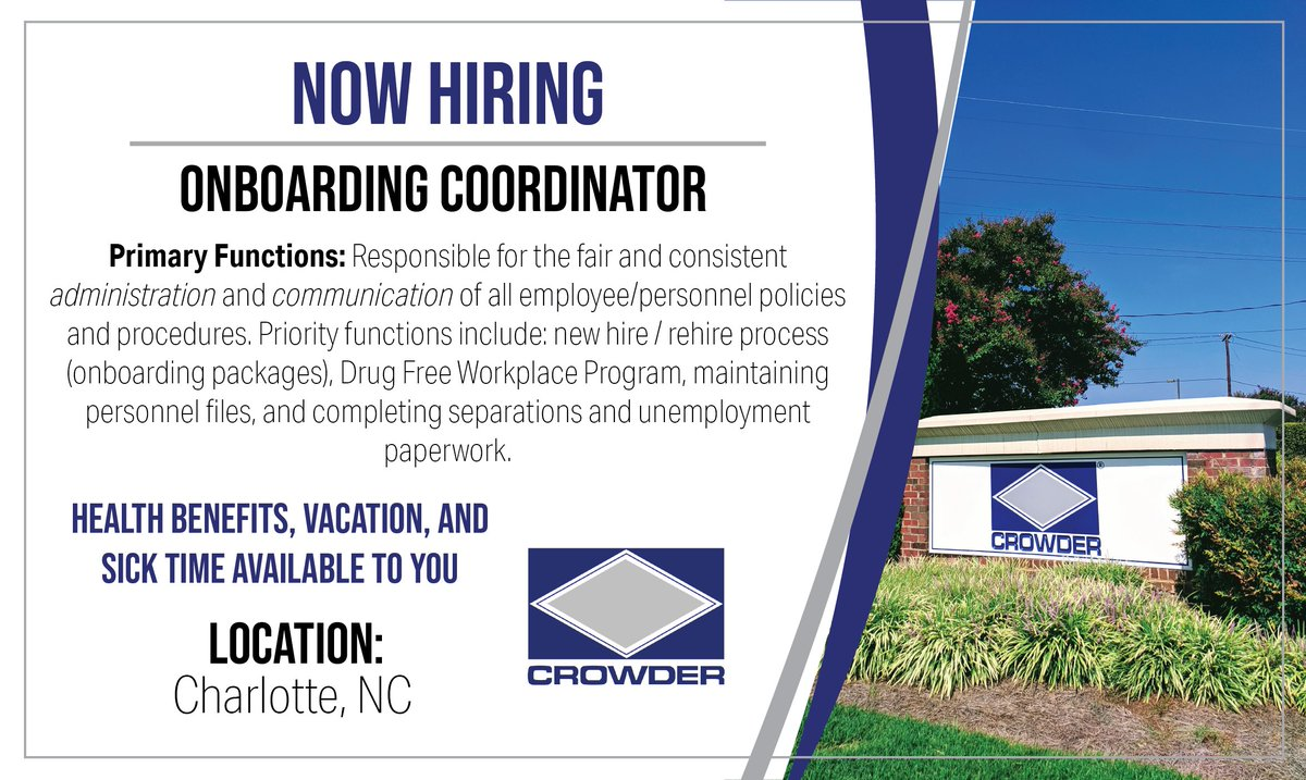 We are currently looking for an Onboarding Coordinator to work out of our Corporate Office in Charlotte, NC. Apply here today:  #jobs #JoinOurTeam #onboarding #WednesdayMotivation
