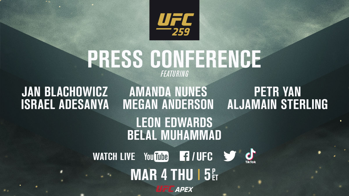 A presser you won't want to miss 🎤 We'll catch you on Thursday. #UFC259