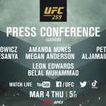Image for the Tweet beginning: OFFICIAL.   The #UFC259 Press Conference