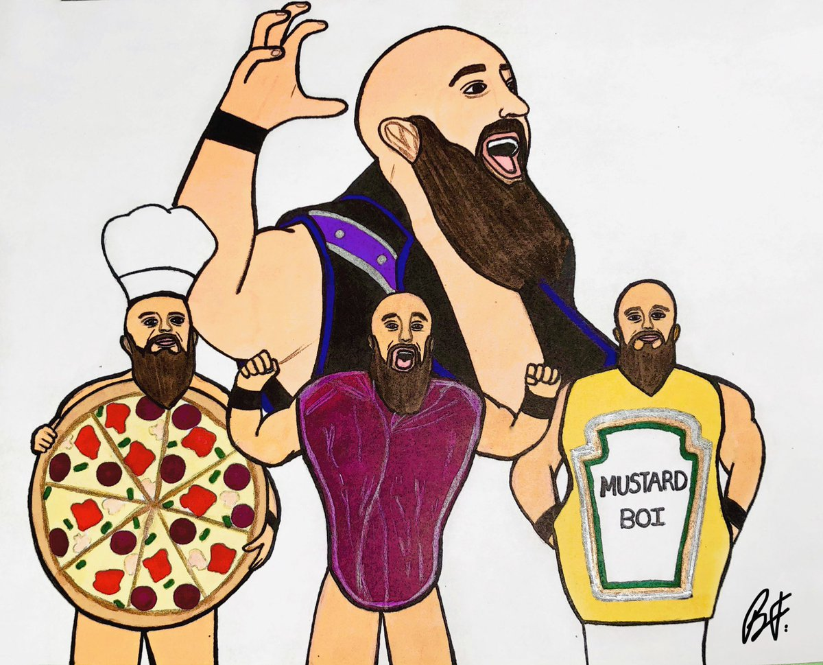 """#5 of """"Wrestling, But Make It ______""""   He's Pizza Boi, Mustard Boi & The Meat Man after all! 😆  @SilverNumber1    #FanArtFriday #JohnnyHungiee"""