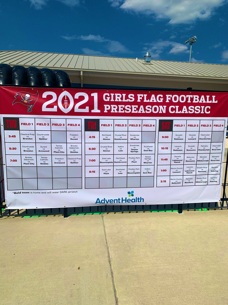 We're getting ready for day ✌🏼 of our 3rd annual Girls Flag Football Preseason Classic. Our events team knows how to bring the 🔥. Let's do this, ladies! 🏈 🏴☠️ #GoBucs @BucsFoundation @Buccaneers @AdventHealth