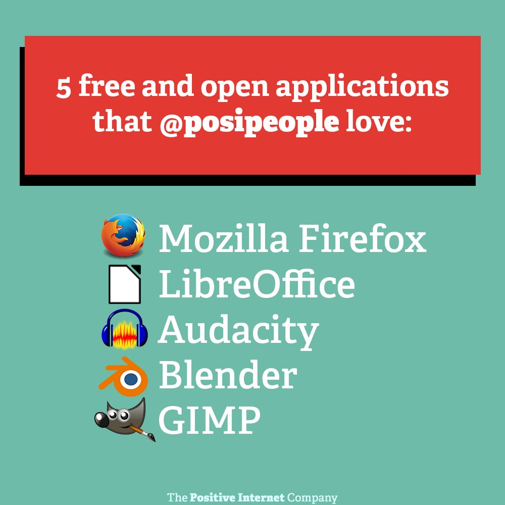 Happy Friday! ✨   Here are just some of the free and open applications that we @posipeople recommend! Why not check them out this weekend?  #opensource #mozillafirefox #libreoffice #audacity #blender #gimp #tech