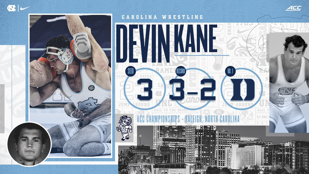 Devin Kane (184) is back in the Tar Heel lineup, looking to compete at ACCs. Kane wrestled in the Round of 12 at the 2019 NCAAs.   #GoHeels | #WeWantMore