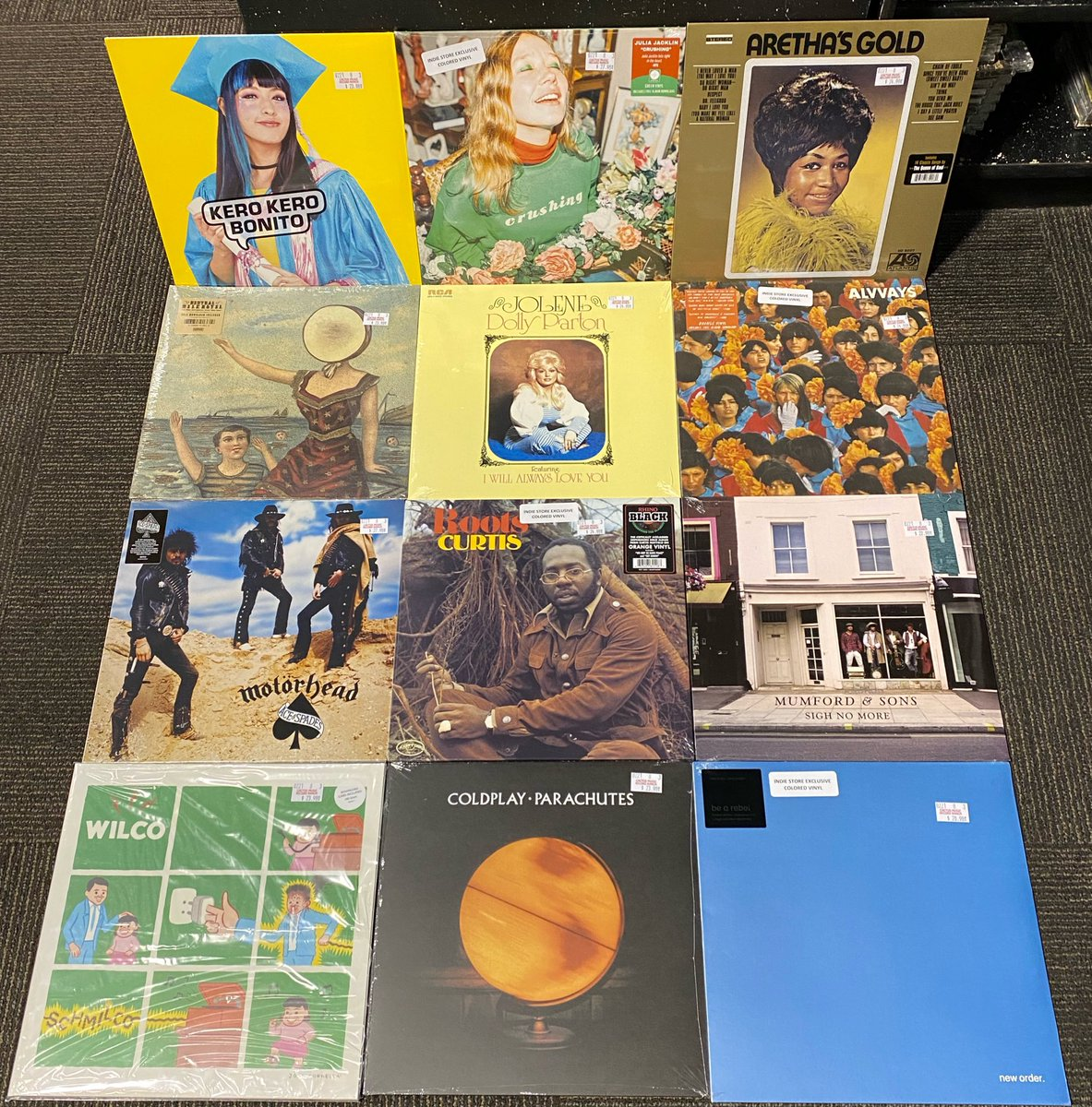 "Small sampling of recent vinyl restocks! Don't see something in-stock? Be sure to check back for ""daily-ish"" restocks or new arrivals. #TheBlackKeys #KateBush #Coldplay #ArethaFranklin #KeroKeroBonito #Lizzo #NeutralMilkHotel #DollyParton #TeganAndSara ⠀⠀⠀⠀⠀⠀⠀⠀⠀⠀⠀"