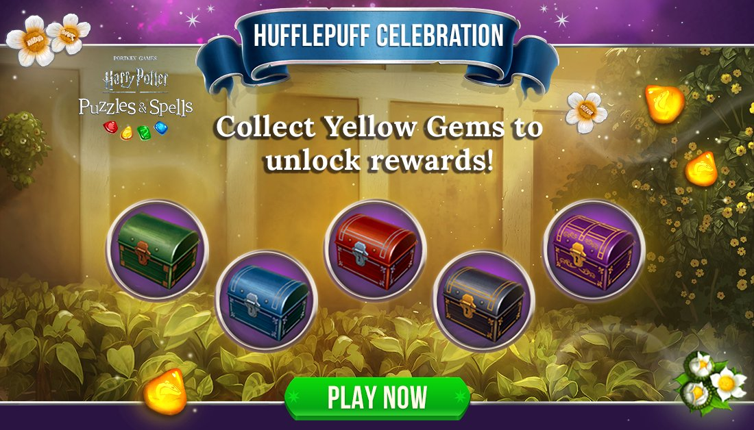 Collect Yellow Gems during #HufflepuffCelebration to open as many chests as you can while the event is active!  Collect Yellow Gems NOW ➡️   #HarryPotterPuzzlesAndSpells #Match3 #Hufflepuff