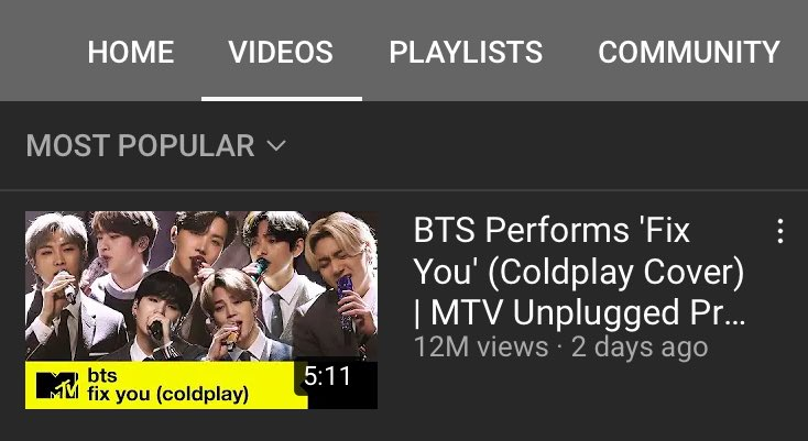 .@BTS_twt's 'Fix You (Coldplay Cover)' on MTV Unplugged is now the most watched video on the MTV UK YouTube channel with 12M+ views, doing so in just 2 days   It's a beautiful song and a beautiful perfomance, we're very proud 💜